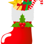 サンタクロースの長靴にプレゼントがいっぱい