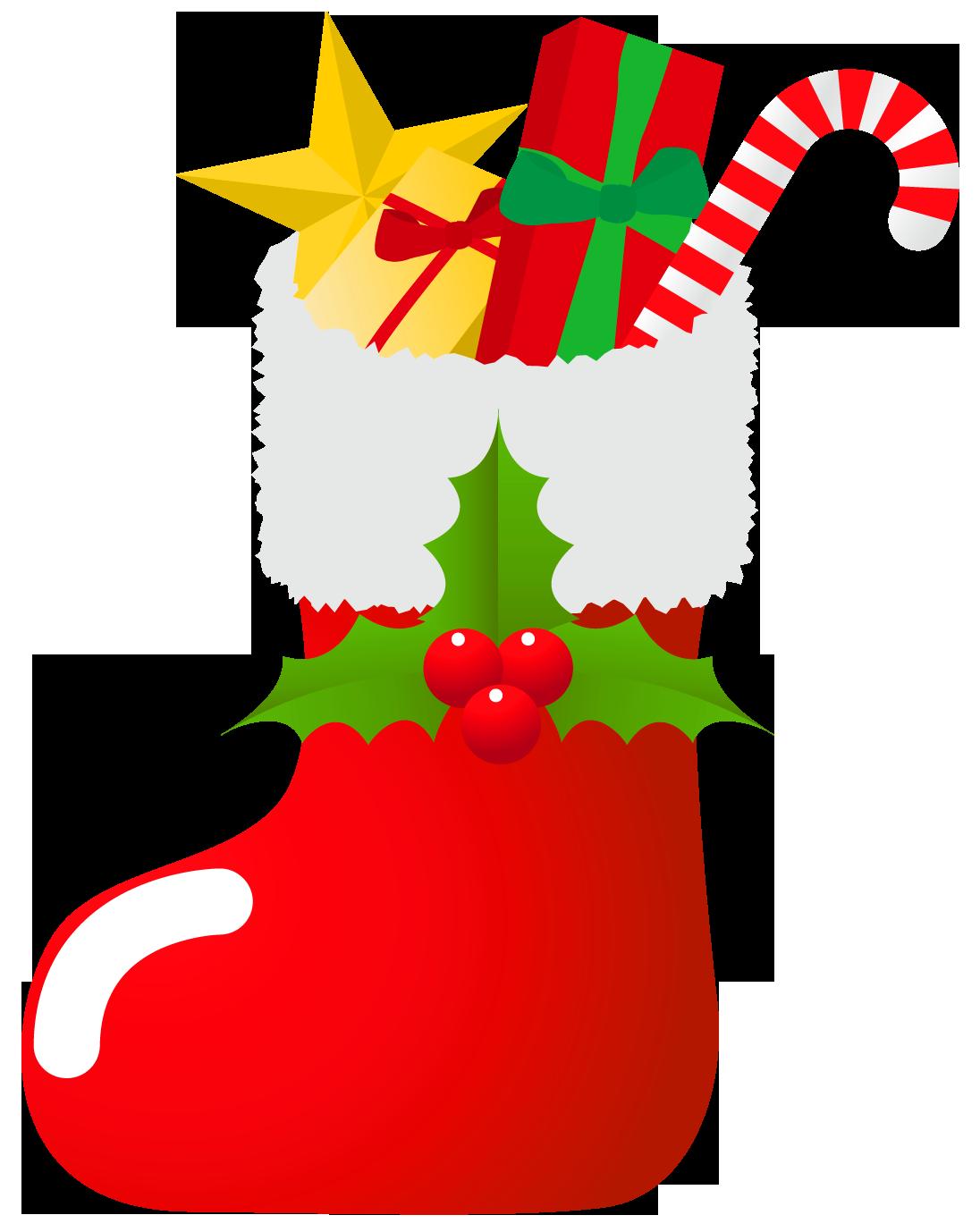 サンタクロースの長靴にお菓子がいっぱい